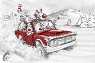 Reindeer And All In The Red Truck  Fine Art Print