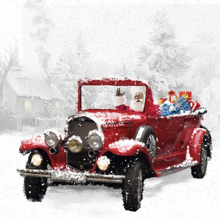 Framed Santa's Red Classic Car Print