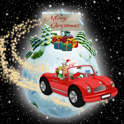 Framed Merry Christmas Motor Magic Print