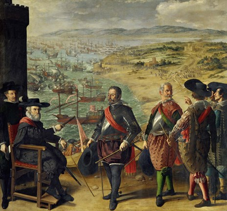 Framed Defense of Cadiz Against the English (1625) Print
