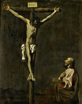 Framed Saint Luke as a Painter Before Christ on the Cross (self-portrait of Francisco de Zurbaran) Print