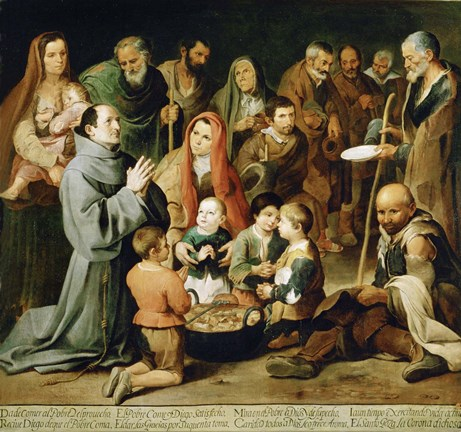 Framed Saint Diego of Alcala Feeds the Poor Print