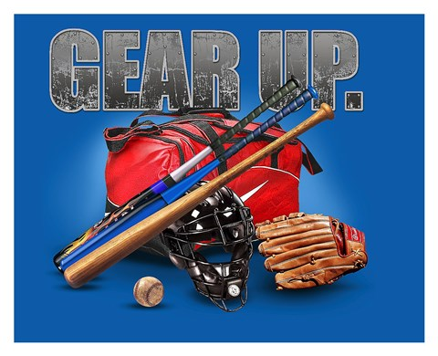 Framed Gear Up Baseball Print