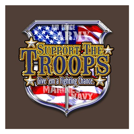 Framed Support The Troops America Print