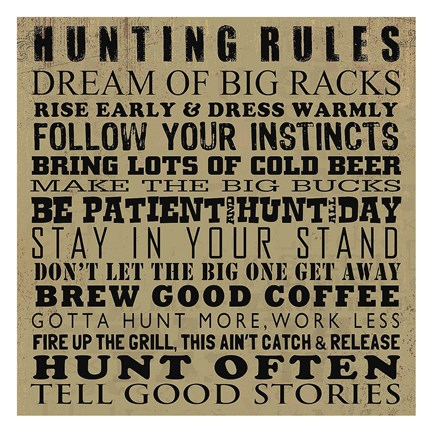 Framed Hunting Rules Print