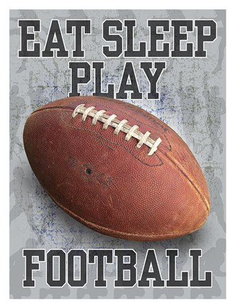 Framed Eat Sleep Play Football Print