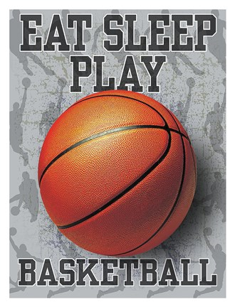 Framed Eat Sleep Play Basketball Print