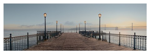Framed Pier with Bay Bridge Vista Print