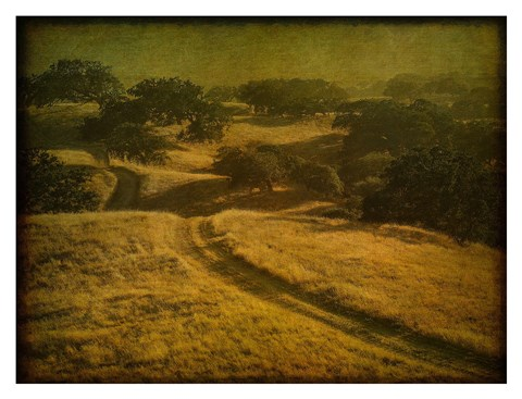 Framed Ranch Road and Oak Savannah Print