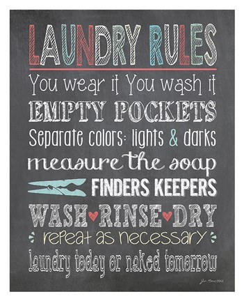 Laundry Rules Fine Art Print By Jo Moulton At