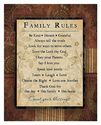 Framed Family Rules Print