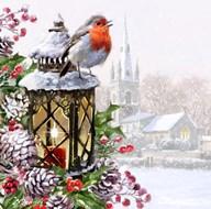 Robin On Lantern  Fine Art Print