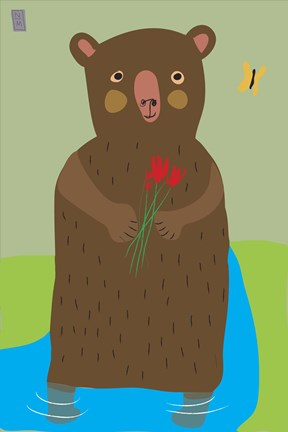 Framed Bear With Flowers Print