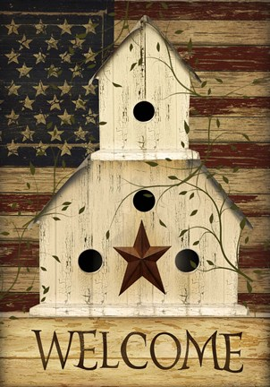 Framed Americana Welcome Birdhouse Print