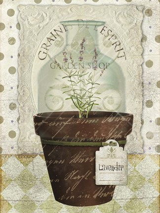 Framed Herb Pot Lavender Print