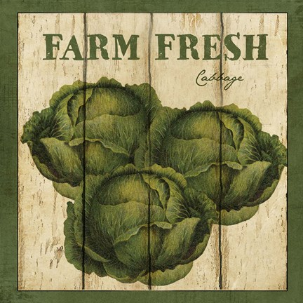 Framed Farm Fresh Cabbage Print