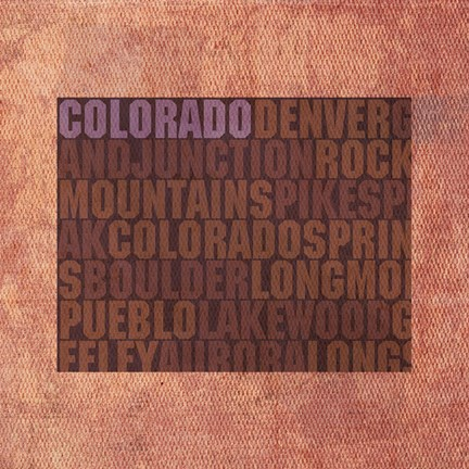 Framed Colorado State Words Print