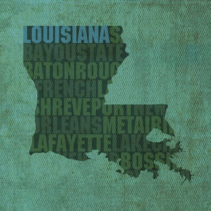Framed Louisiana State Words Print