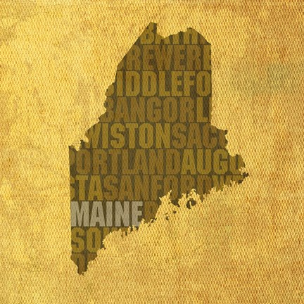 Framed Maine State Words Print
