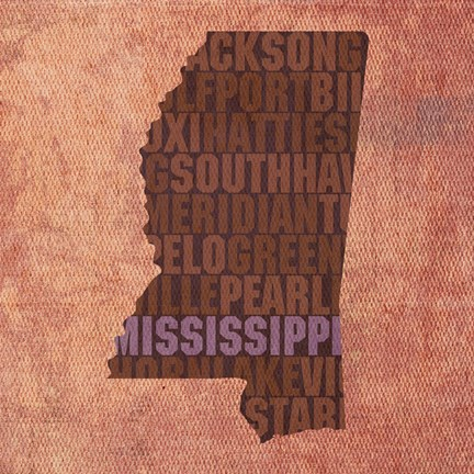 Framed Mississippi State Words Print