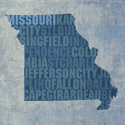 Framed Missouri State Words Print