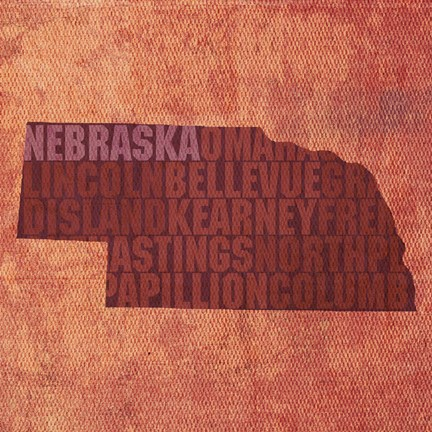 Framed Nebraska State Words Print
