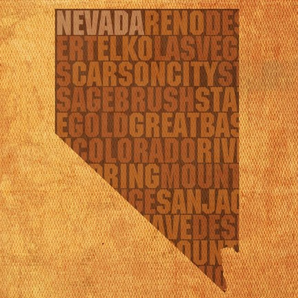 Framed Nevada State Words Print