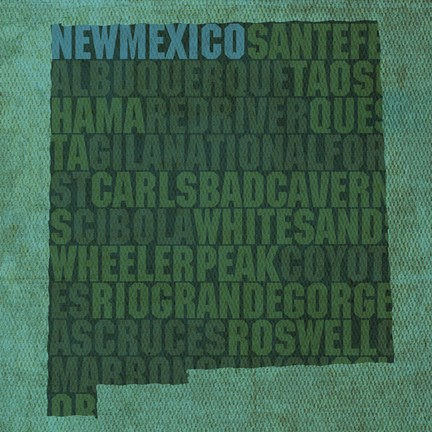 Framed New Mexico State Words Print