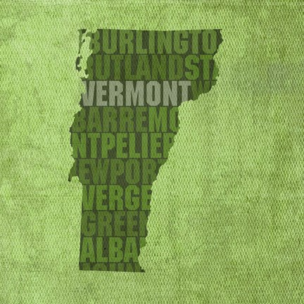 Framed Vermont State Words Print