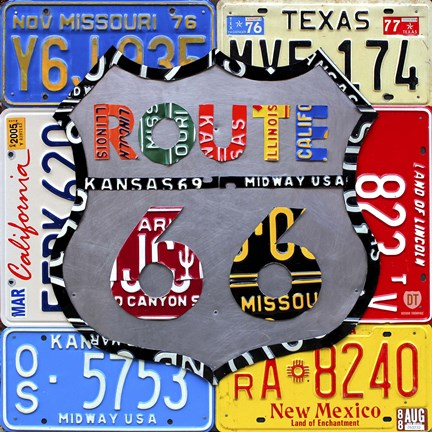 Framed Route 66 Road Sign Print