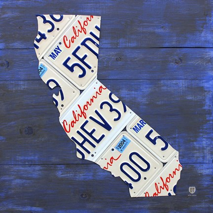Framed California License Plate Map - Blue Print