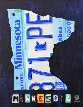 Framed Minnesota License Plate Map Print