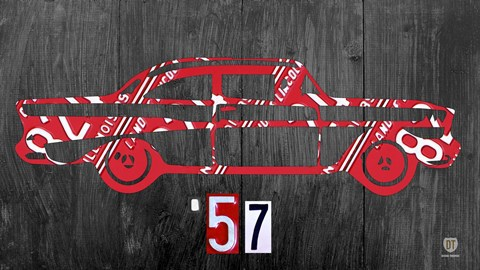 Framed 57 Chevy License Plate Art Print