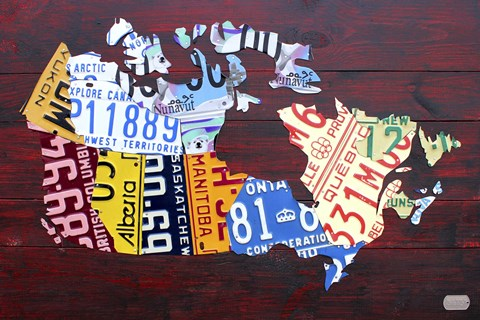 Framed Canada License Plate Map Print