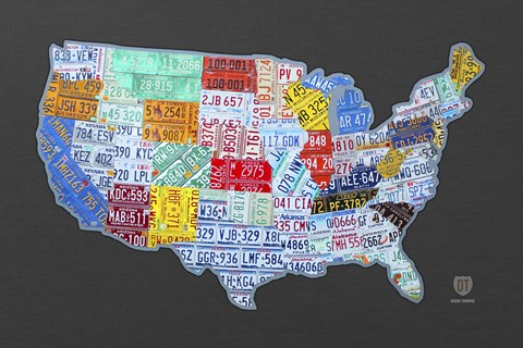 Framed Massive Usa License Plate Map Print