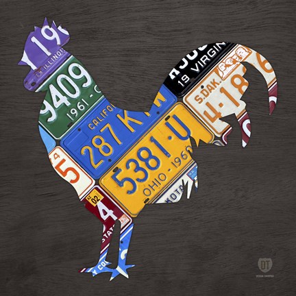 Framed License Plate Art Rooster Print