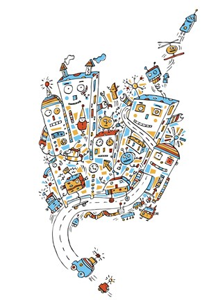 Framed Robot City Print