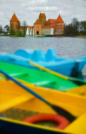 Framed Colorful Boats and Island Castle by Lake Galve, Trakai, Lithuania Print