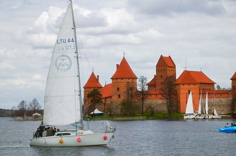 Framed Sailboat with Island Castle by Lake Galve, Trakai, Lithuania Print