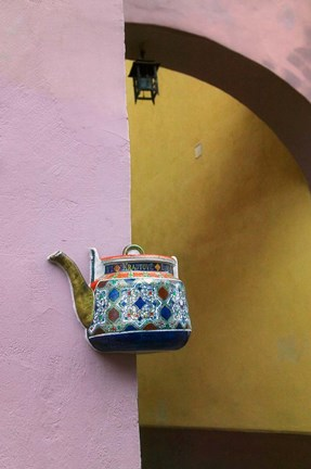 Framed Wall Decorated with Teapot and Cobbled Street in the Old Town, Vilnius, Lithuania III Print