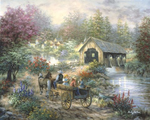 Framed Merriment At Covered Bridge Print