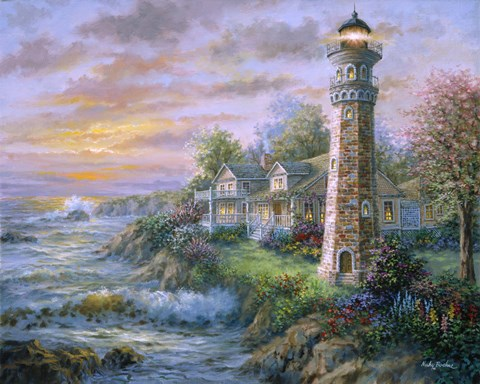 Framed Lighthouse Haven II Print