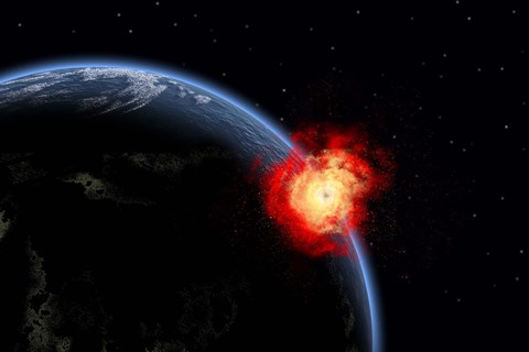 Framed Explosion on Earth's surface from a colliding Asteroid Impact Print