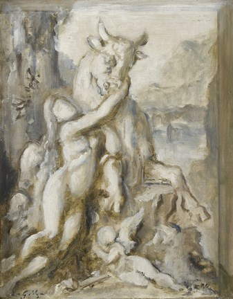 Framed Pasiphae, Grisaille, 19th Century Print