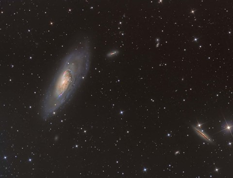 Framed Messier 106 spiral galaxy in the Constellation Canes Venatici Print