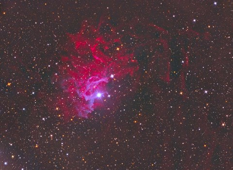 Framed IC 405, The Flaming Star Nebula in the Constellation Auriga Print