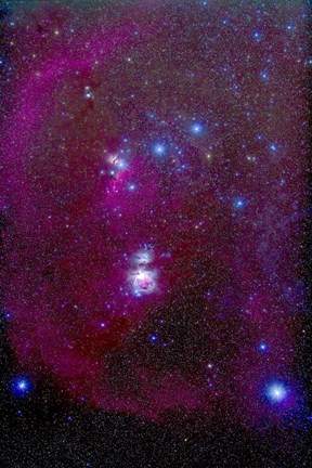 Framed Orion Nebula, Belt of Orion, Sword of Orion and Nebulosity Print