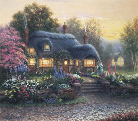 Framed Boyville Cottage (Twighlight) Print