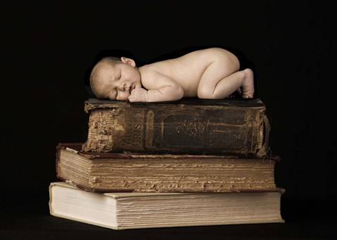 Framed Baby On Books Print
