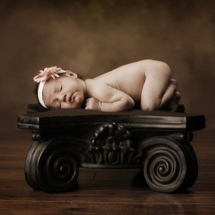 Framed Baby On Pedestal Print